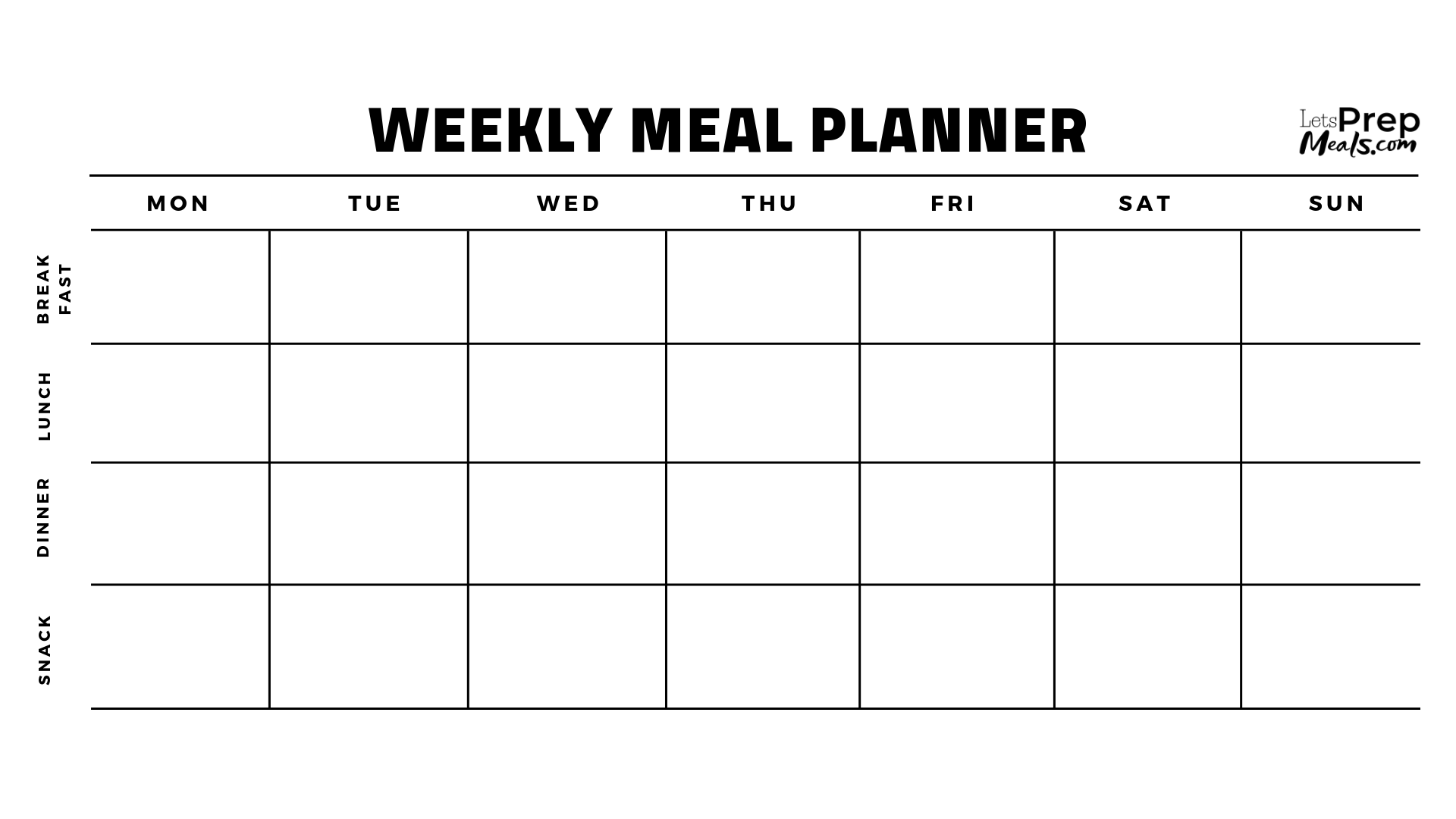 LetsPrepMeals.com - Weekly Meal Planner bw