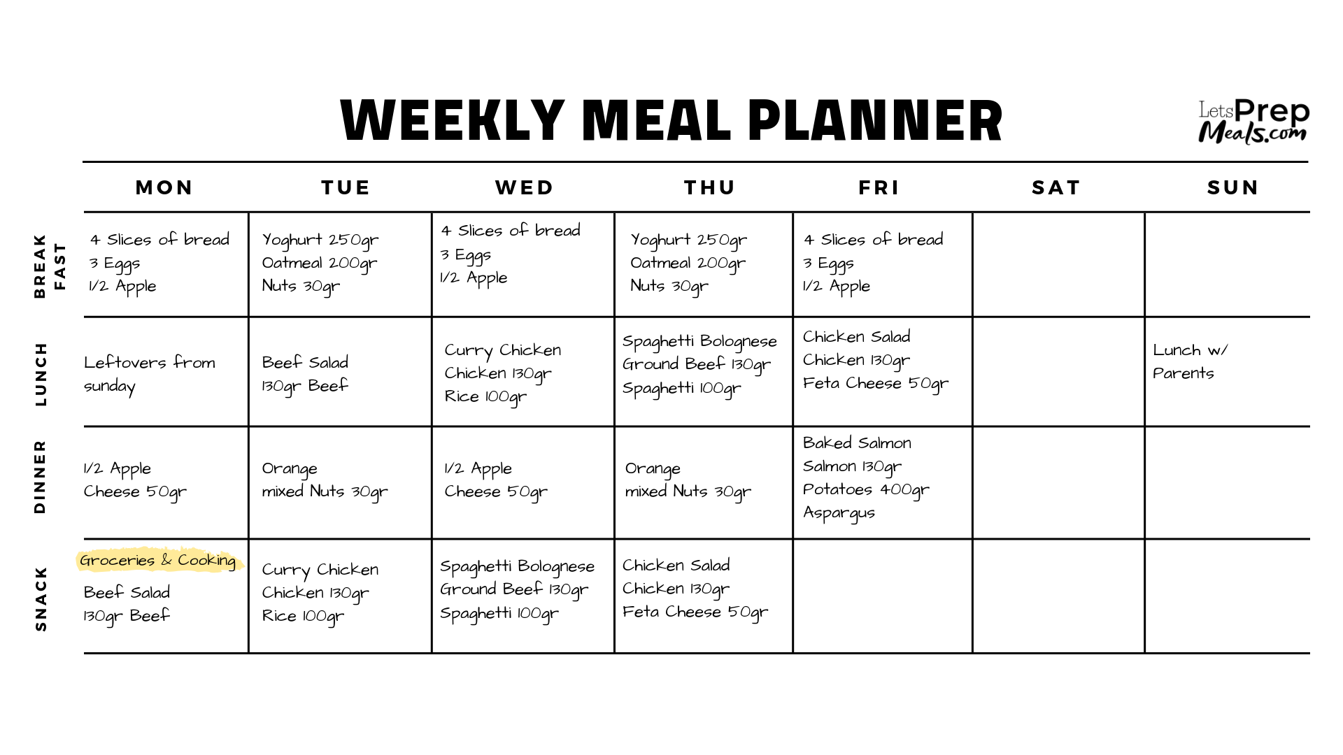 LetsPrepMeals.com - Weekly Meal Planner with meals