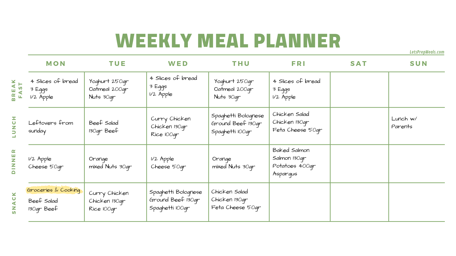 Weekly meal planner filled out with delicious meals.